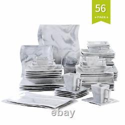 MALACASA Flora Grey 56pc Porcelain Dinner Set Kitchen Dinning Plates Bowls Mugs