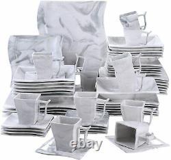 MALACASA Flora Marble Grey Dinnerware Set Porcelain Tableware Plates Bowls Mugs