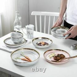 Marble Pattern Round Bowl Ceramic Cute Salad Steak Soup Bowl Creative Tableware