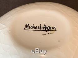 Michael Aram White Porcelain Ceramic Leaf Cereal Soup Salad Bowl 7 3/8 L Set 8