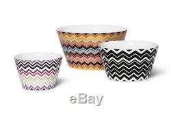 Missoni For Target 3 Pcs Zig Zag Nesting Ceramic Bowl