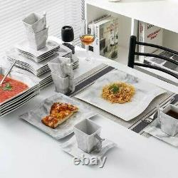 Modern 30-Piece Marble Luxury Porcelain Dinnerware Set with 6Dinner Plate etc