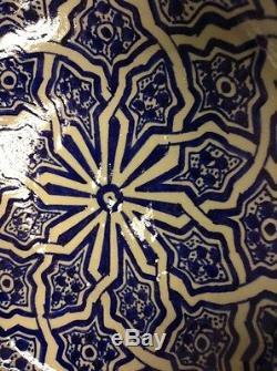 Moroccan Hand Painted Large Glazed Bowl Cobalt Blue Arabesque Design