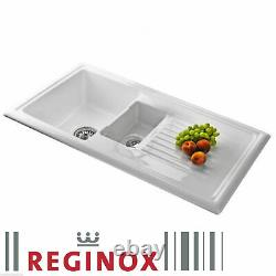 Moss & Britten White Ceramic 1.5 Bowl Kitchen Sink & Wastes RL301CW