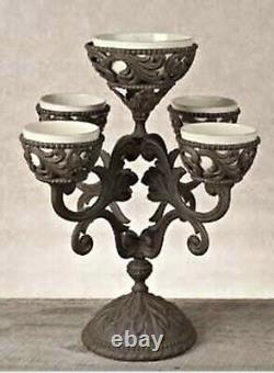 NEW GG Collection Gracious Goods Acanthus Epergne Metal with Ceramic Bowls