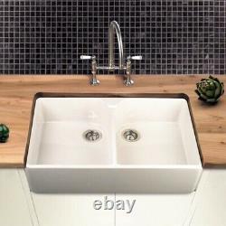NEW Villeroy & Boch Farmhouse 80 White Ceramic Double Bowl Belfast Sink