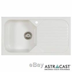New Astracast Swale 1.0 Bowl White Ceramic Kitchen Sink + Waste & Pluming kit
