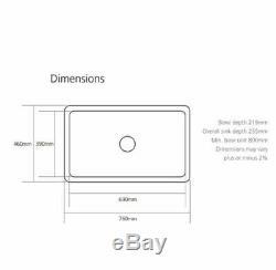 New Large 760 Ceramic Belfast Kitchen Sink 1.0 Bowl White 760x460x255 + Waste