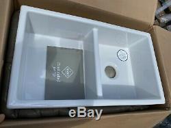 New in Box Shaws SCSH 800wh Kitchen Butler ceramic white sink double bowl incvat