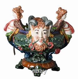 Ornamental Bowl Baroque Grotesque Mask Majolica Vase Antique Jardiniere China