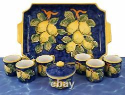 PICCADILLY COSTA d'AMALFI 6 Espresso Cups Sugar Bowl Tray Set Ceramic Blue Lemon