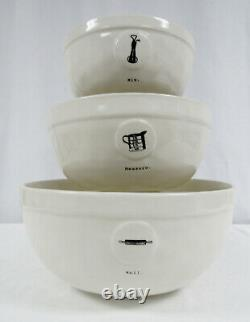RAE DUNN 2018 Icon Mixing Bowl Set Mix, Measure, & Roll