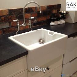 RAK 1.0 Bowl Ceramic Belfast Butler Kitchen Sink FREE Mini Basket Strainer Waste