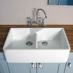 RAK 2.0 Bowl Ceramic Double Belfast Butler Kitchen Sink & FREE Wastes GOSINK10