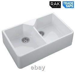RAK 2.0 Bowl Double Ceramic Farmhouse Belfast Kitchen Sink & Wastes GOSINK10