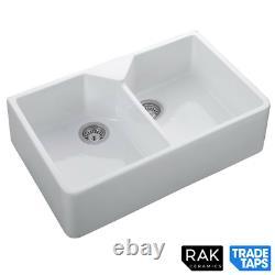 RAK Ceramics Double Belfast Kitchen Sink 2.0 Bowl White Farmhouse Gourmet 10
