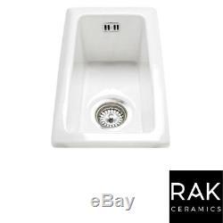 RAK Ceramics Gourmet Sink 7 Inset/Undermount 0.5 Bowl White Ceramic Kitchen Sink
