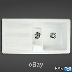 RAK Ceramics Kitchen Sink Rustic 1.5 Bowl White Ceramic Reversible 600mm Cabinet