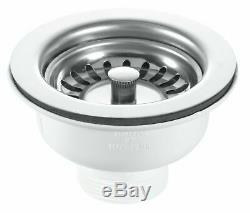 RAK Ceramics Kitchen Sink Rustic 1.5 Bowl White Ceramic Reversible with Wastes