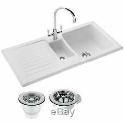 RAK Ceramics Rustic 1.5 Bowl White Ceramic Reversible Kitchen Sink & Waste
