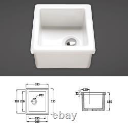 RAK Ceramics White 1.0 Single Bowl Laboratory Lab Belfast Kitchen Sink 4 Sizes