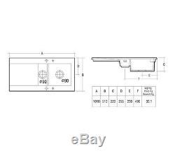 RAK DREAM SINK 1.5 BOWL CERAMIC+90mm WASTES & overflow LorR HAND DRAINER