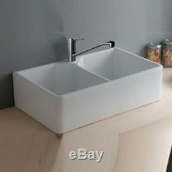 RAK Farmhouse Gourmet 10 Ceramic Belfast Butler Double Kitchen Sink 2.0 Bowl