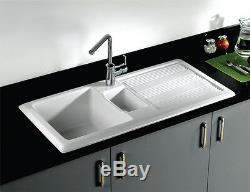 RAK Gourmet 1000 Ceramic Kitchen Sink 1.5 Bowl Fire Clay Reversible GOSINK1V2