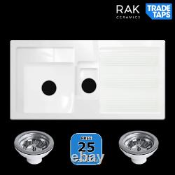 RAK Modern 1.5 Bowl and Half Ceramic Kitchen Sink & Two Wastes White GOSINK1V2