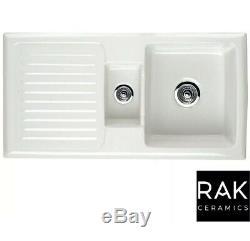 RAK Rustic 1.5 Bowl Ceramic Reversible Kitchen Sink White