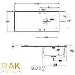RAK White 1.0 Bowl Ceramic Gourmet Dream Kitchen Sink Modern Reversible Drainer