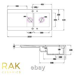 RAK White 1.5 Bowl and Half Ceramic Dream Kitchen Sink Modern Reversible Drainer