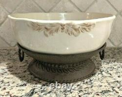 RETIRED GG Collection GRAZIA Large Serving Pedestal Bowl Gracious Goods Cream