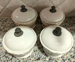RETIRED GG Collection SET OF 4 GRAZIA COVERED BOWLS Gracious Goods Tureen Lidded