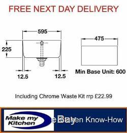 Rangemaster 60cm Belfast Ceramic Sink Single Bowl Inc 90mm Chrome Waste CBL595WH
