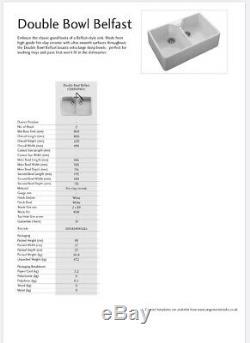 Rangemaster 800x500 Double Bowl Belfast White. £499 New
