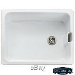 Rangemaster Belfast 1.0 Bowl White Ceramic Kitchen Sink CCBL595WH/