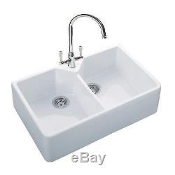 Rangemaster Belfast 2.0 Double Bowl Ceramic Kitchen Sink Gloss White Farmhouse