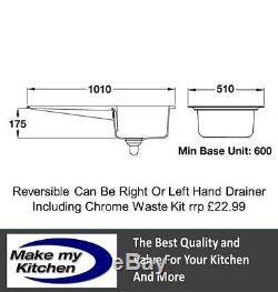 Rangemaster CNV1 Nevada 1.0 Single Bowl Ceramic Sink White INC CHROME WASTE KIT