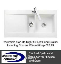 Rangemaster CNV2 Nevada 1.5 Bowl Ceramic Sink White With CHROME WASTE KIT INC