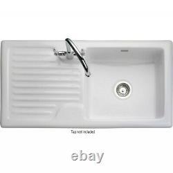 Rangemaster CRS10101LWH Rustique 1010x510 1.0 Bowl LHD Ceramic Sink White
