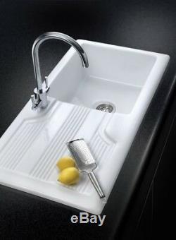 Rangemaster Portland 1.0/1.5 Bowl Kitchen Sink Ceramic Gloss White CPL1010/20