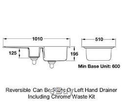 Rangemaster Portland 1.5 Bowl Ceramic Kitchen Sink White CPL10102WH & Waste Kit