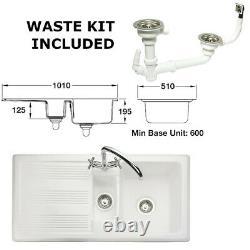 Rangemaster Portland 1.5 Fire-Clay Ceramic Kitchen Sink + Waste Kit, CPL10102WH