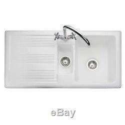 Rangemaster Portland White Inset Ceramic 1.5 Bowl Kitchen Sink Left Hand Only