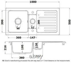 Rangemaster Rustic Kitchen Sink 1.5 Bowl White Ceramic Inset Reversible Waste