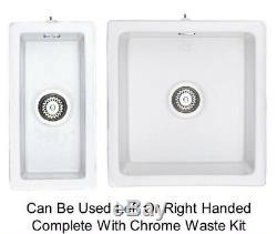 Rangemaster Rustique 1.5 Bowl Ceramic Undermount Sink Set with CHROME WASTE KIT