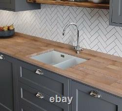Rangemaster Rustique White Ceramic 1.5 Bowl Kitchen Sink with Waste