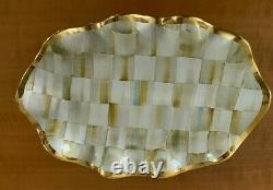 Rare Vintage MacKenzie Childs Parchment Check Ceramic Fluted Oval Platter