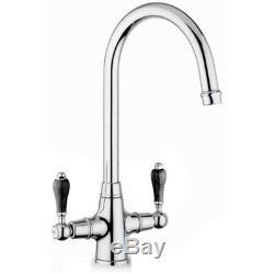 Reginox 1.0 Bowl Black Ceramic Kitchen Sink, Waste & Reginox Brooklyn Tap